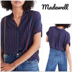 Madewell Central Shirt In Duo Stripe Twilight Sz M